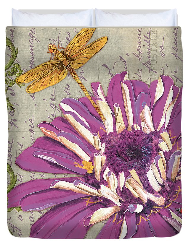 Floral Duvet Cover featuring the painting Moulin Floral 2 by Debbie DeWitt