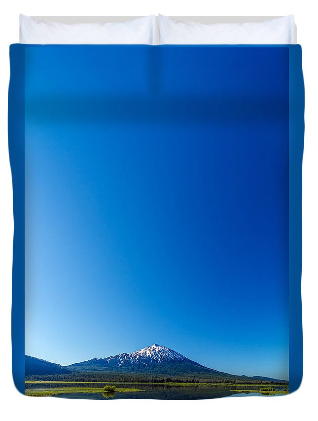 Mountain Duvet Cover featuring the photograph Mount Bachelor And Sky by Jess Kraft
