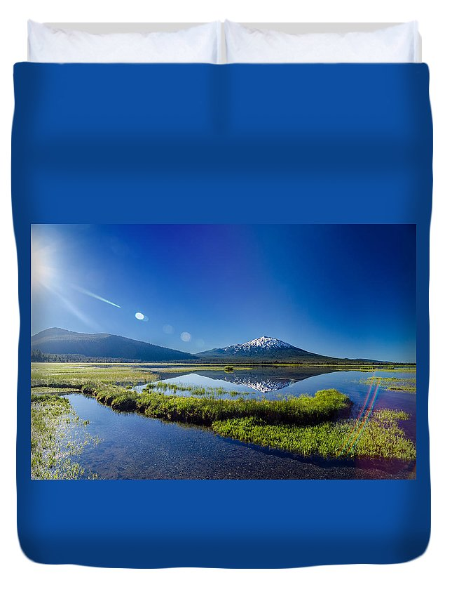 Mountain Duvet Cover featuring the photograph Mount Bachelor Lens Flare by Jess Kraft