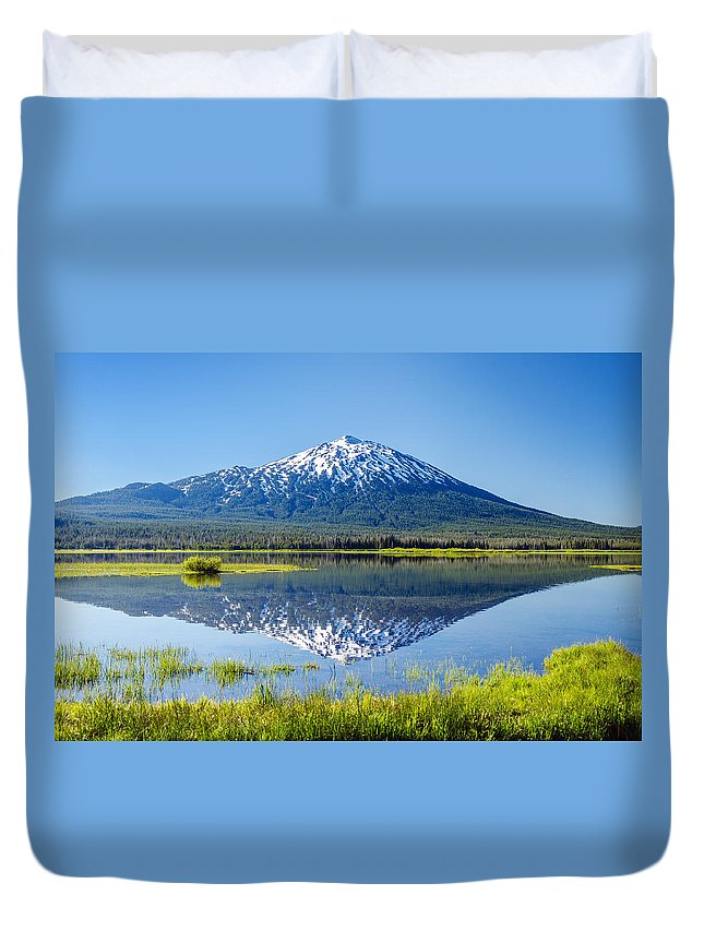Mountain Duvet Cover featuring the photograph Mount Bachelor Reflection by Jess Kraft