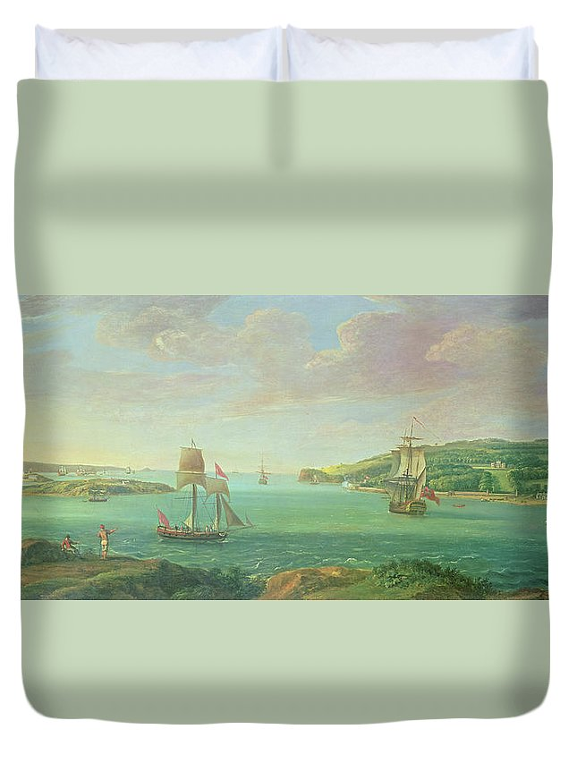 Plymouth Sound Duvet Cover featuring the painting Mount Edgcumbe by Banfield
