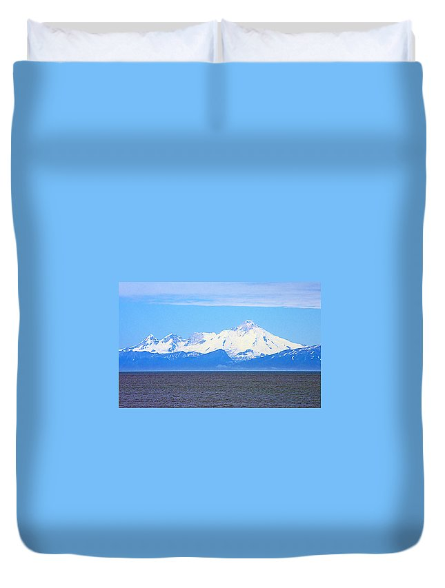 Mount Iliamna Across Cook Inlet From Ninilchik Duvet Cover featuring the photograph Mount Iliamna Across Cook Inlet From Ninilchik-alaska by Ruth Hager