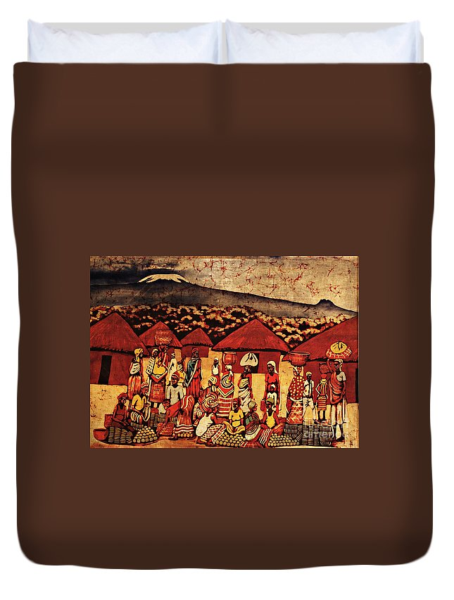 Batik Duvet Cover featuring the tapestry - textile Mount Kilimanjaro by Eamonn Hogan