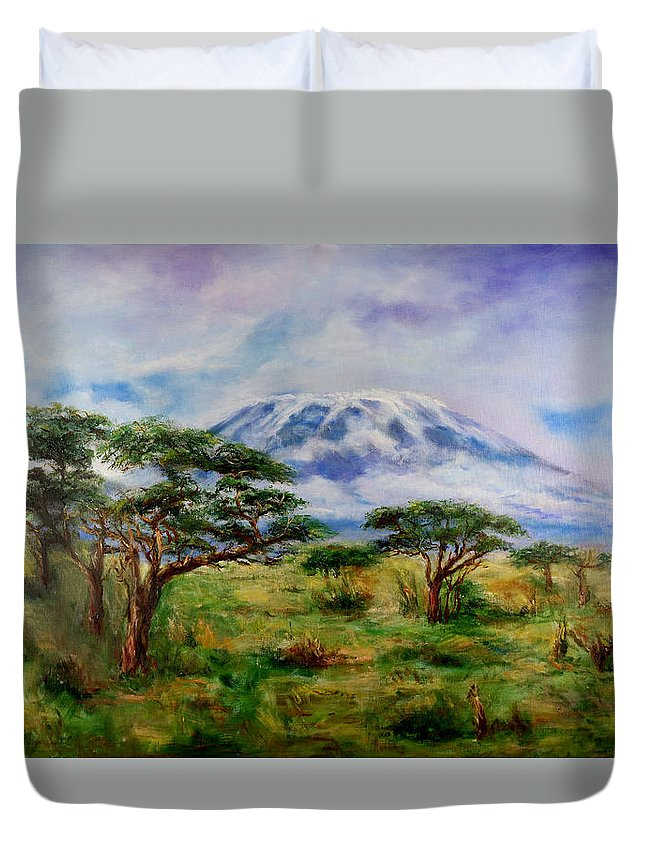 Mount Kilimanjaro Duvet Cover featuring the painting Mount Kilimanjaro Tanzania by Sher Nasser