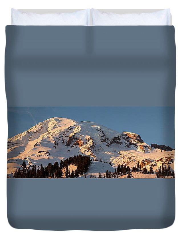 Rainier Duvet Cover featuring the photograph Mount Rainier Alpenglow by Mike Reid
