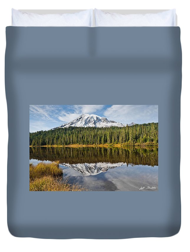 Autumn Duvet Cover featuring the photograph Mount Rainier And Reflection Lakes In The Fall by Jeff Goulden