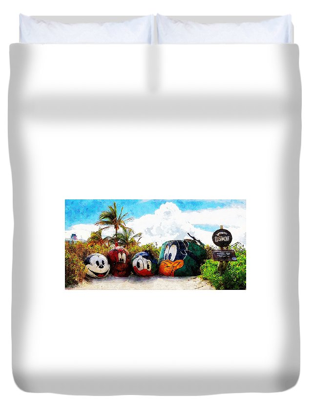 Disney Duvet Cover featuring the painting Mount Rustmore Castaway Cay by Sandy MacGowan