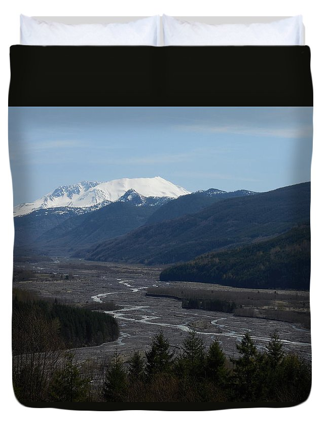 Volcano Duvet Cover featuring the photograph Mount St Helens by Teresa A Lang