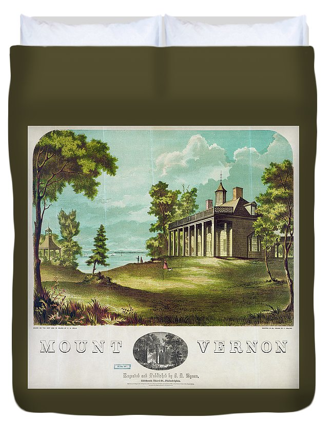 1859 Duvet Cover featuring the painting Mount Vernon, 1859 by Granger