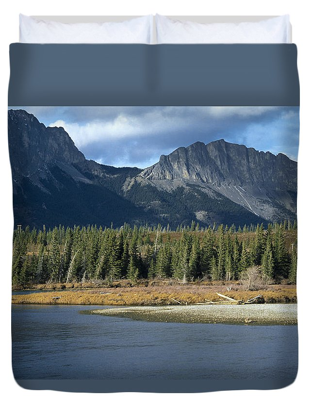 Bow River Duvet Cover featuring the photograph Mount Yamnuska by Roderick Bley