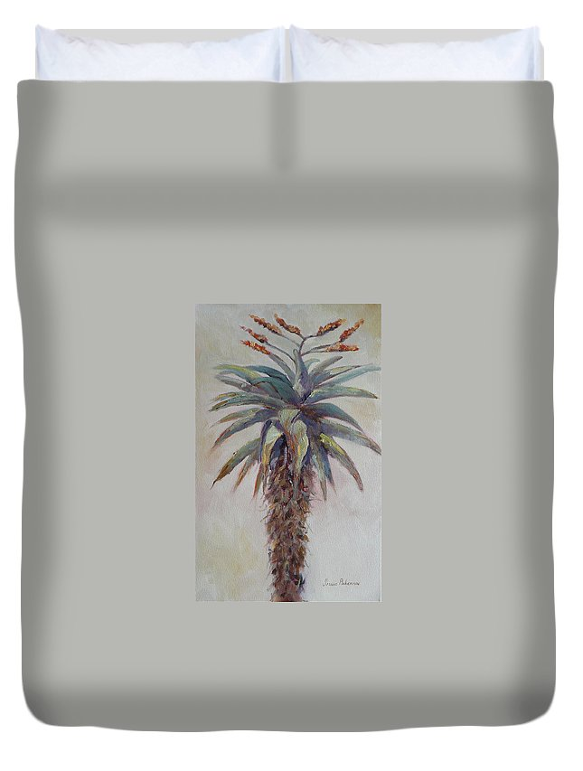Plant Duvet Cover featuring the painting Mountain Aloe by Yvonne Ankerman