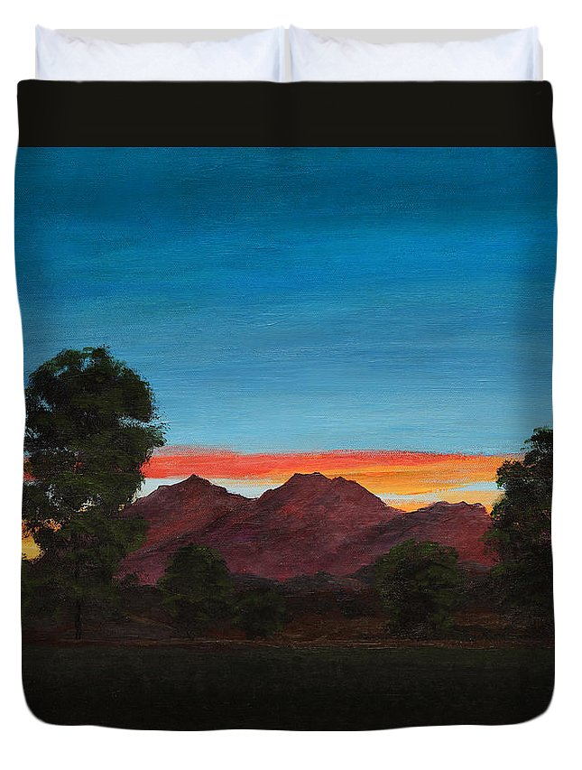 Mountain Duvet Cover featuring the painting Mountain At Night by Masha Batkova