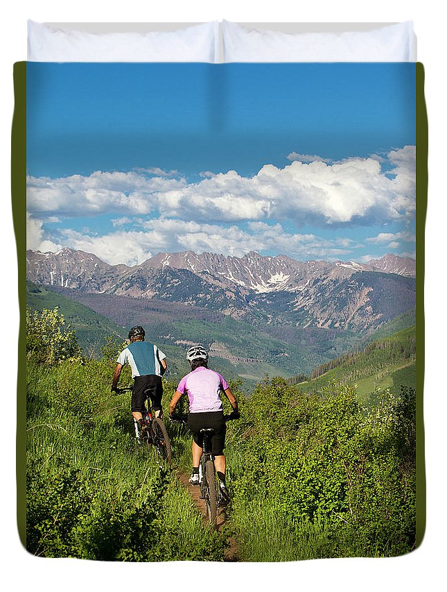 30-34 Years Duvet Cover featuring the photograph Mountain Biking by Jack Affleck