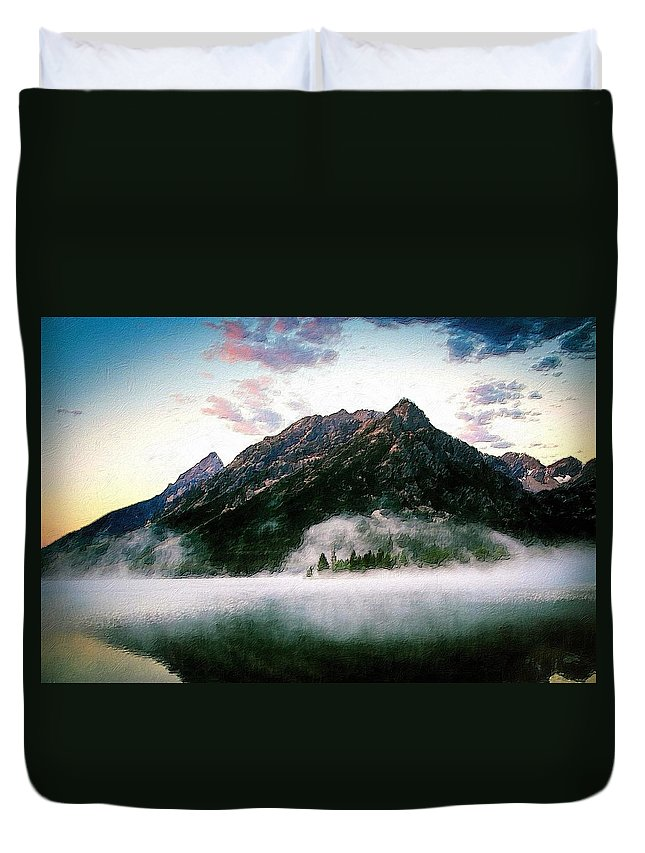 Lake Duvet Cover featuring the painting Mountain By The Lake by Florian Rodarte