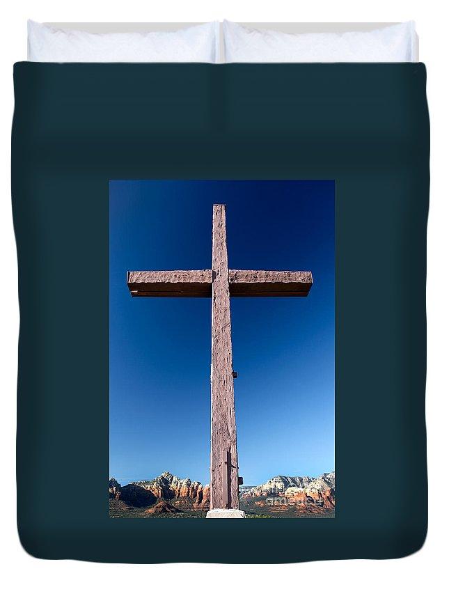 Arizona Duvet Cover featuring the photograph Mountain Cross by Karen Lee Ensley