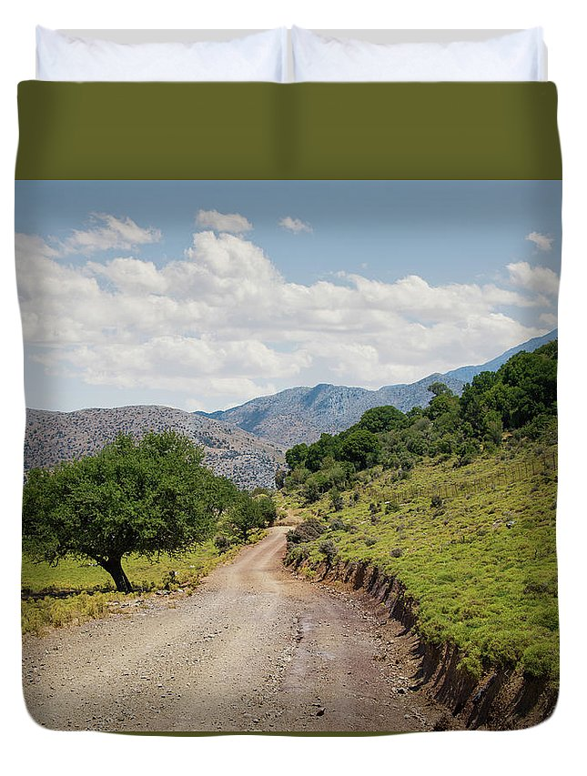 Tranquility Duvet Cover featuring the photograph Mountain Dirt Road In Northern Crete by Ed Freeman