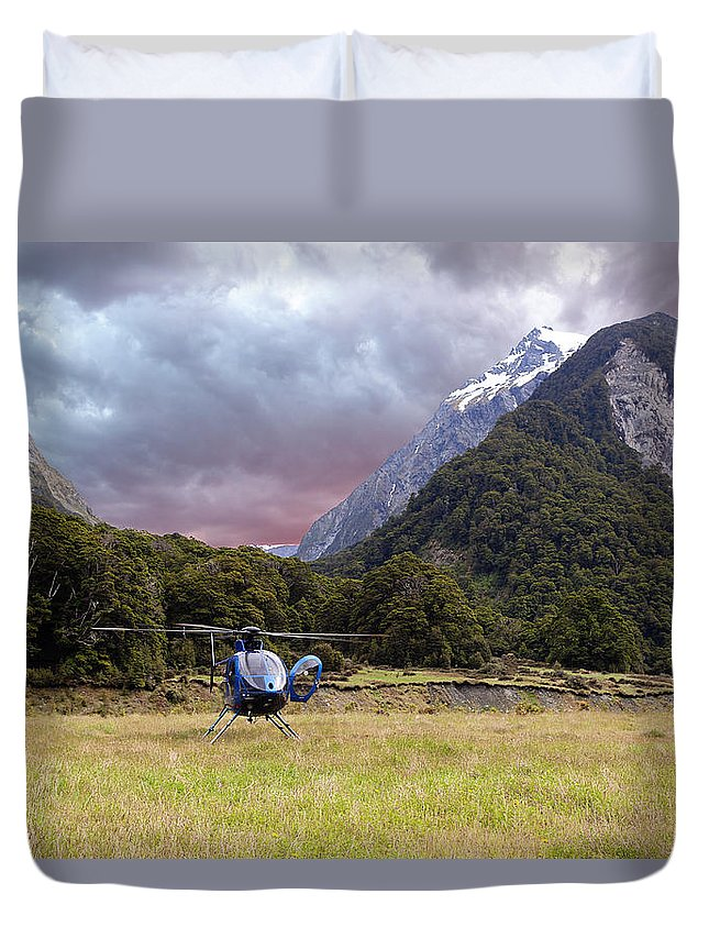 Green Duvet Cover featuring the photograph Mountain Flight by Alexey Stiop