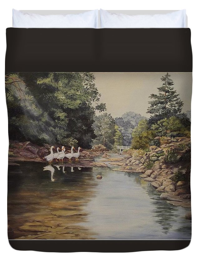 Landscape Duvet Cover featuring the painting Mountain Home Creek by Wanda Dansereau