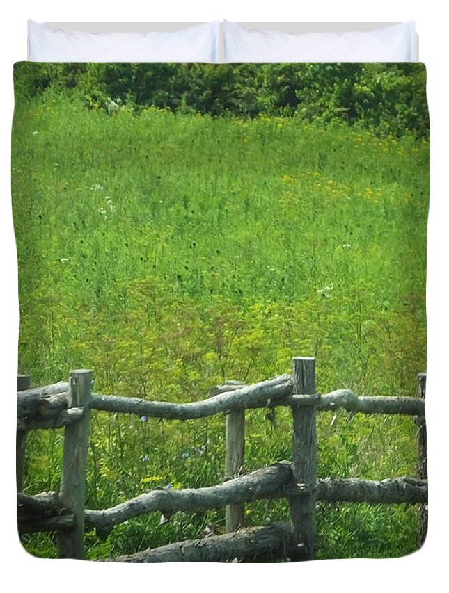 Meadow Duvet Cover featuring the photograph Mountain Meadow New York Hwy 30 by Lizi Beard-Ward