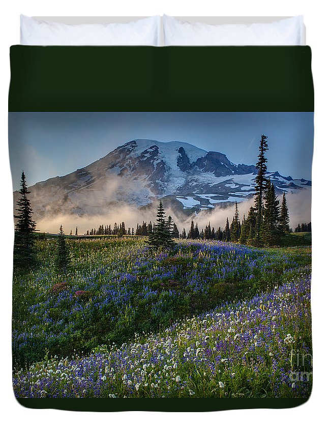 Rainier Duvet Cover featuring the photograph Mountain Meadow Serenity by Mike Reid