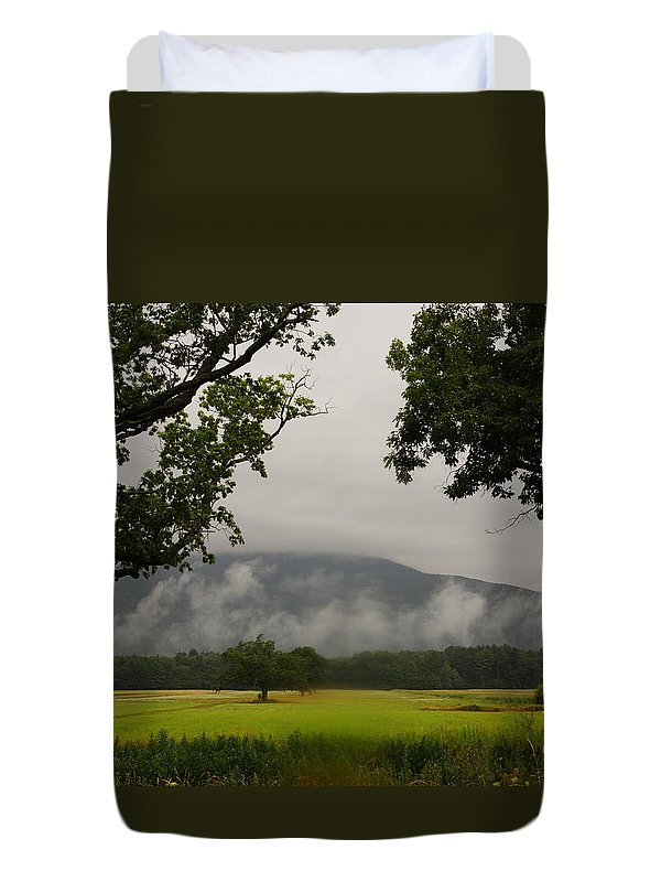 Early Morning Mountain Fog Duvet Cover featuring the photograph Mountain Mist by Jeffery L Bowers