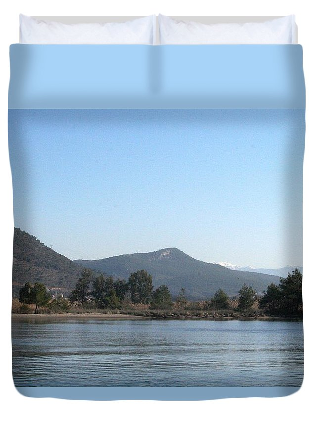 Beach Duvet Cover featuring the photograph Mountain Pines And Sea Shore by Tracey Harrington-Simpson