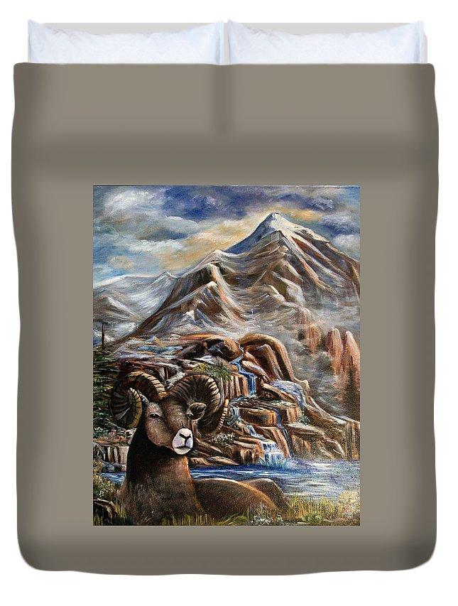 Mountains Duvet Cover featuring the painting Mountain Ram by Sue Stake