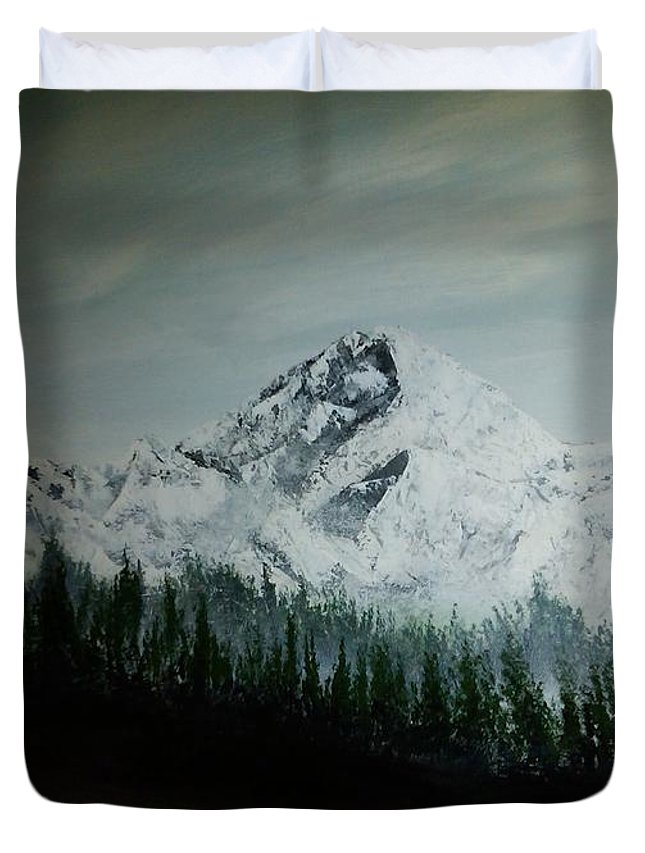 Mountain Range With Evergreens Duvet Cover featuring the painting Mountain Range by Phoenix Creations