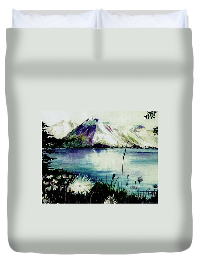 Landscape Duvet Cover featuring the painting Mountain Serenity by Brenda Owen
