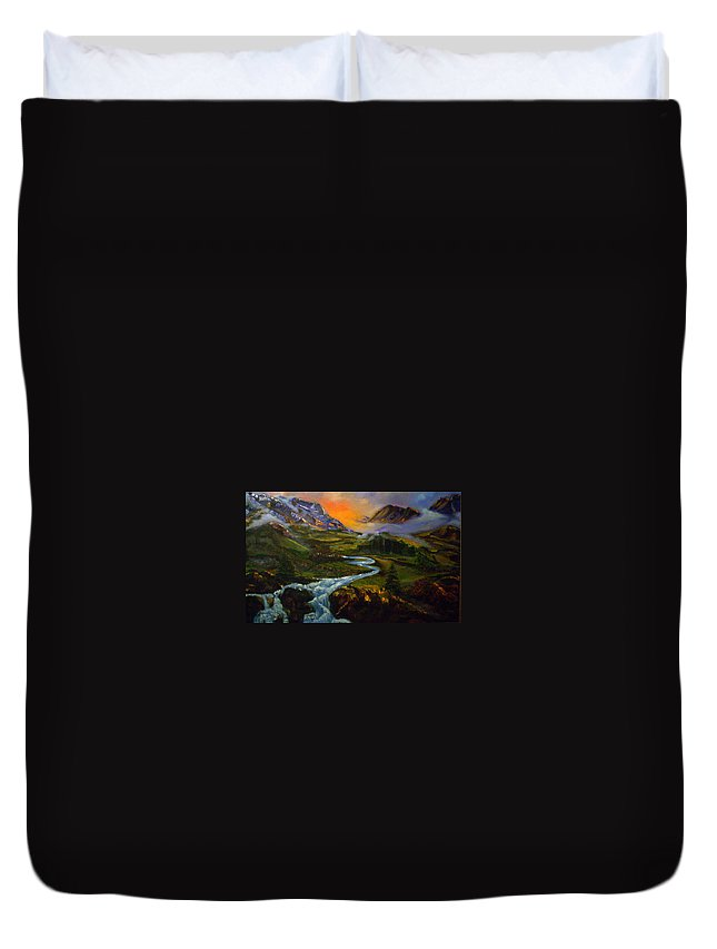Mountains Duvet Cover featuring the painting Mountain Streams by Sue Stake