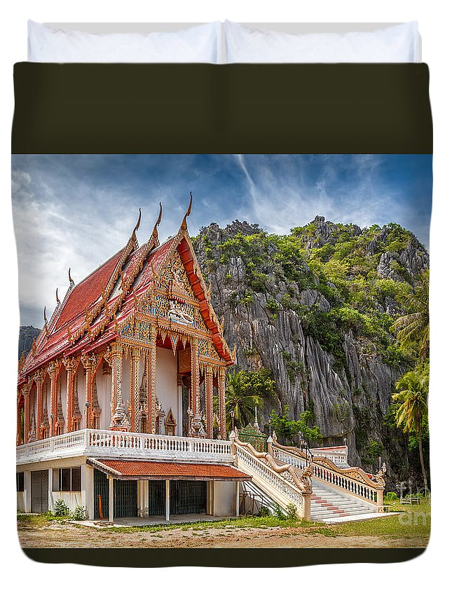 Architecture Duvet Cover featuring the photograph Mountain Temple by Adrian Evans