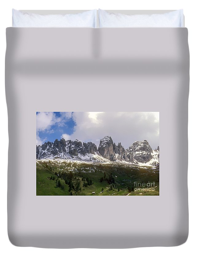 Dolomite Mountain Mountains Peaks Peak Hillside Hillsides Tree Trees Snow Cloud Clouds Landscape Landscapes South Tyrol Tyrolean Alps Italy Snowscape Snowscapes Dolomites Valley Valleys Duvet Cover featuring the photograph Mountains And Valleys by Bob Phillips