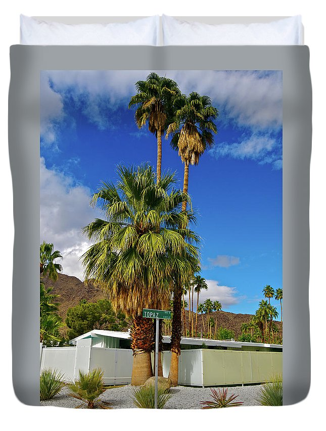 Fan Palm Tree Duvet Cover featuring the photograph Mountains, Plants & Mid-century Home In by Jaylazarin