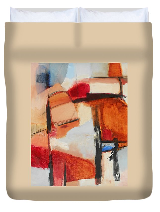 Abstract Duvet Cover featuring the painting Mountaintop Rearranged by Danielle Nelisse