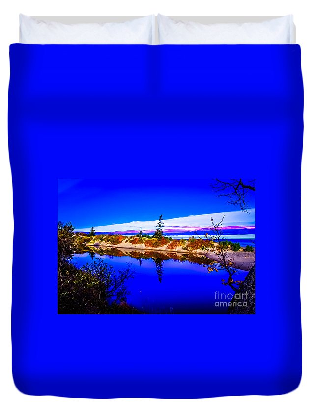 Optical Playground By Mp Ray Duvet Cover featuring the photograph Mouth Of The Two Hearted River by Optical Playground By MP Ray