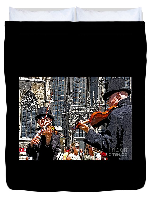 Buskers Duvet Cover featuring the photograph Mozart In Masquerade by Ann Horn