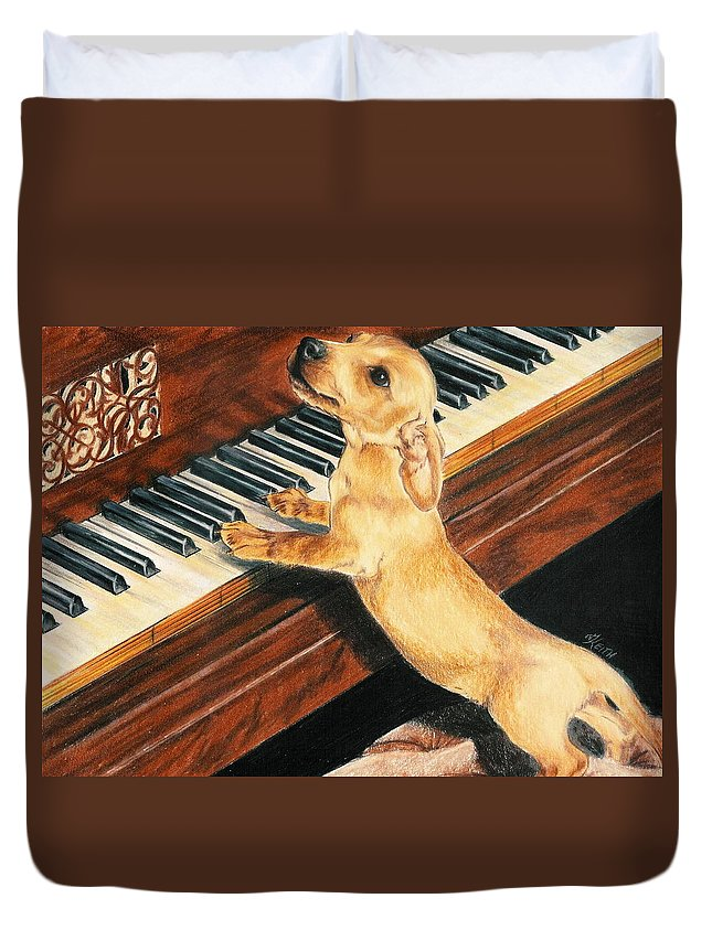 Purebred Dog Duvet Cover featuring the drawing Mozart's Apprentice by Barbara Keith