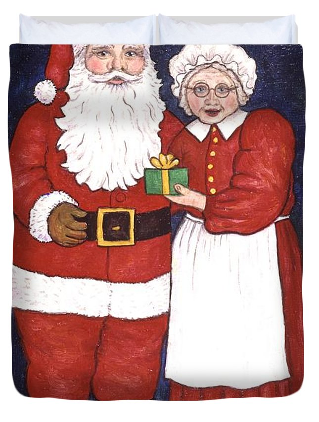 Holidays Duvet Cover featuring the painting Mr And Mrs Claus by Linda Mears