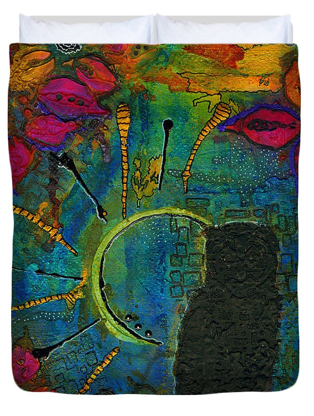 Abstract Mixed Media Duvet Cover featuring the painting Mr Who by Angela L Walker