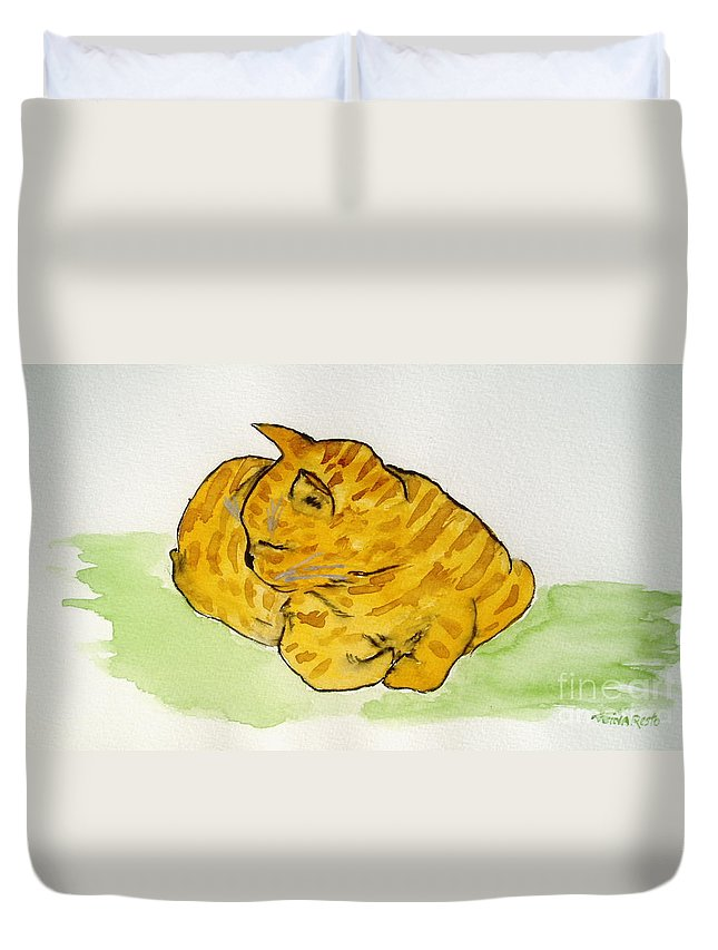 Cat Painting Duvet Cover featuring the painting Mr. Yellow by Reina Resto