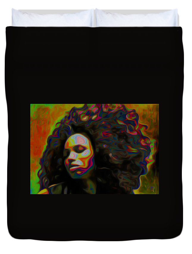 Ms Alt-titude; Portrait Painting; Female; Figurative Art; Fine Art; Fine Art America; Fine Art Print; Fli; Modern Art; Contemporary Art; Impressionism Art; Tradigital Art; Digital Art; Diva; Babe;fli Duvet Cover featuring the painting Ms Alt-titude by Fli Art