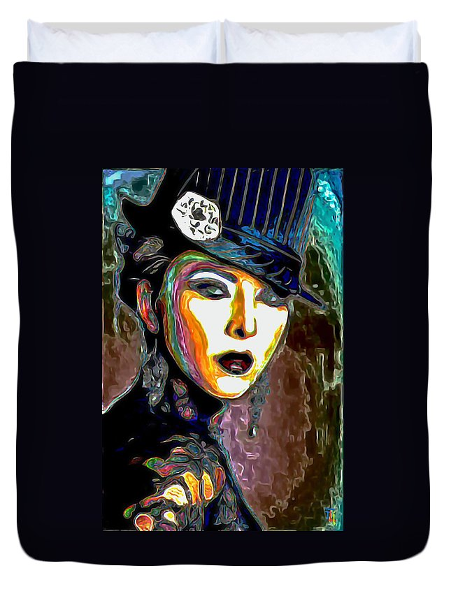 Ms Boss Lady Duvet Cover featuring the painting Ms Boss Lady by Fli Art