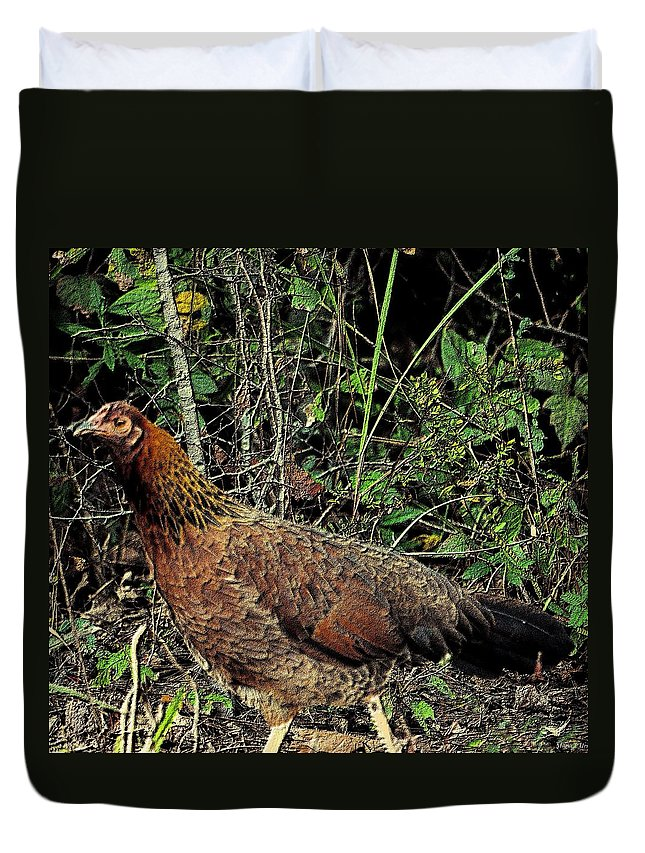 Ms. Chicken Duvet Cover featuring the photograph Ms. Chicken by Maria Urso
