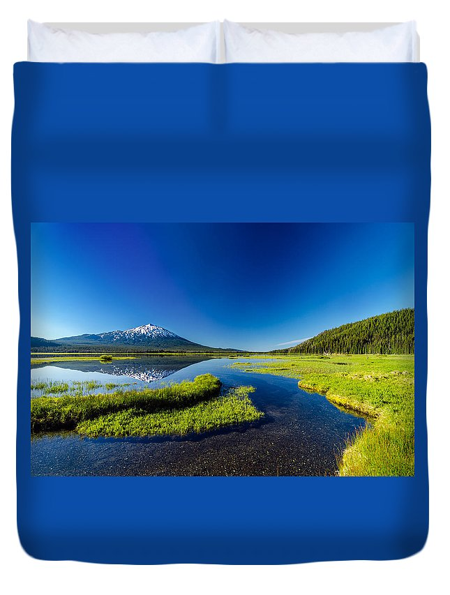Mountain Duvet Cover featuring the photograph Mt. Bachelor Reflection And Forest by Jess Kraft