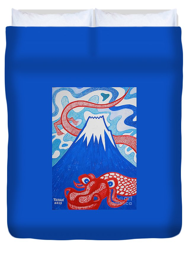 Dragon Duvet Cover featuring the painting Mt. Fuji And A Red Dragon by Taikan Nishimoto