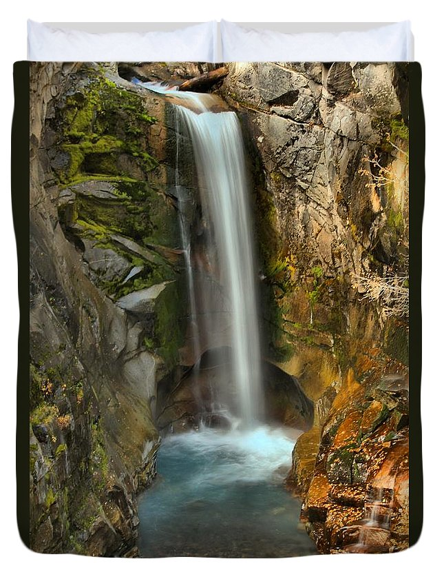 Christine Falls Duvet Cover featuring the photograph Mt Rainier Waterfall by Adam Jewell