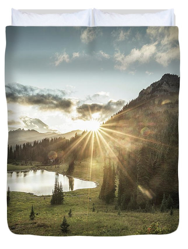 Scenics Duvet Cover featuring the photograph Mt.rainier In Sunset by Chinaface