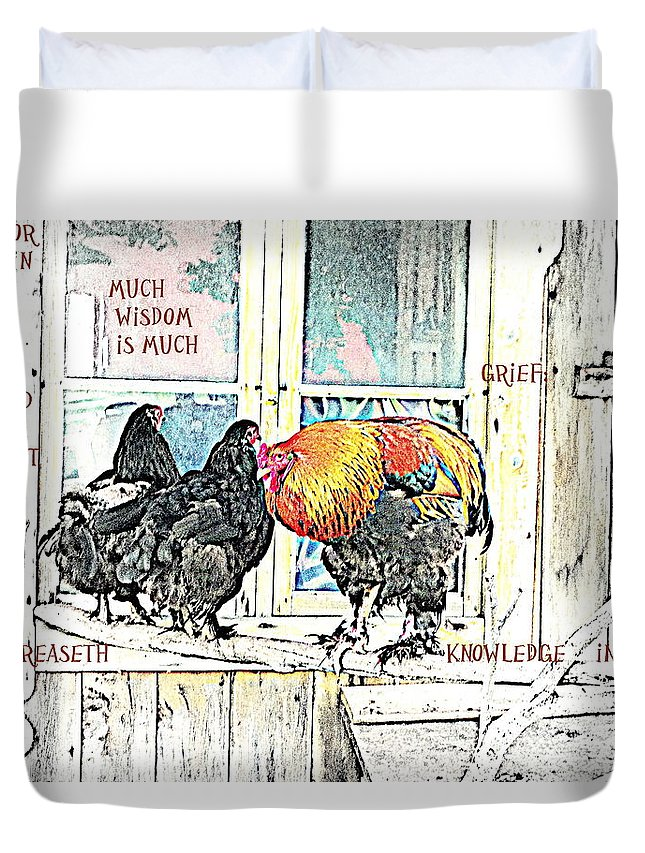 Faces Duvet Cover featuring the photograph Much Wisdom Is Much Grief And Knowledge Is Sorrow by Hilde Widerberg
