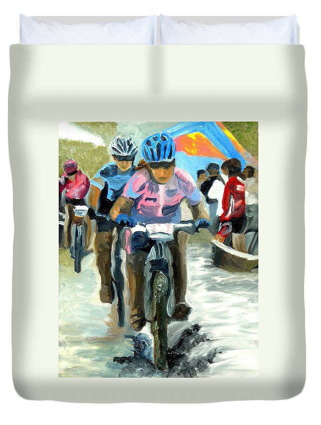 Mountain Bike Duvet Cover featuring the painting Mud Slingers by Michael Lee