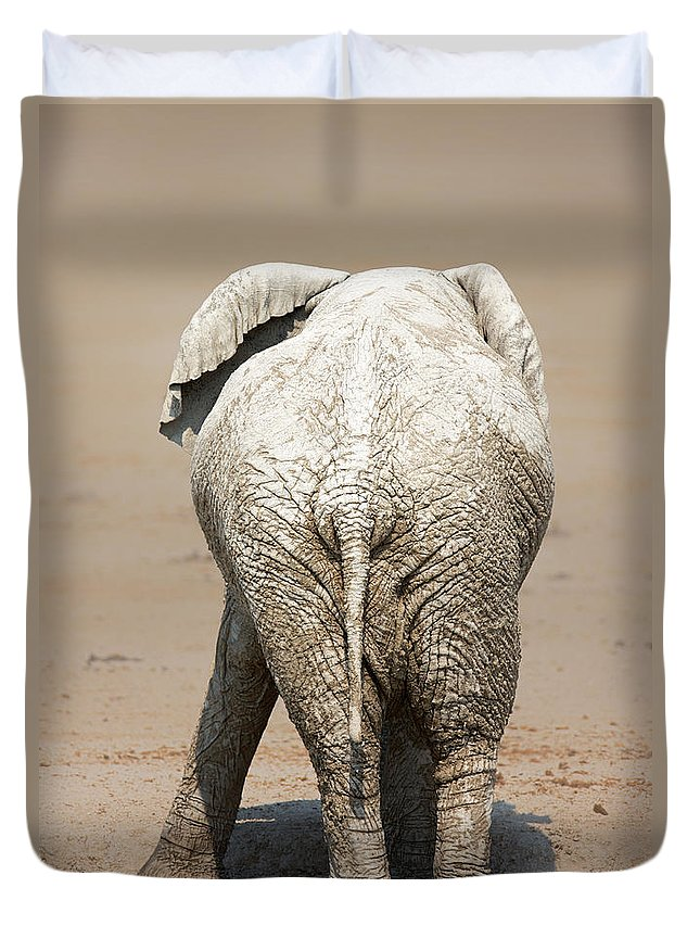 Elephant Duvet Cover featuring the photograph Muddy Elephant With Funny Stance by Johan Swanepoel